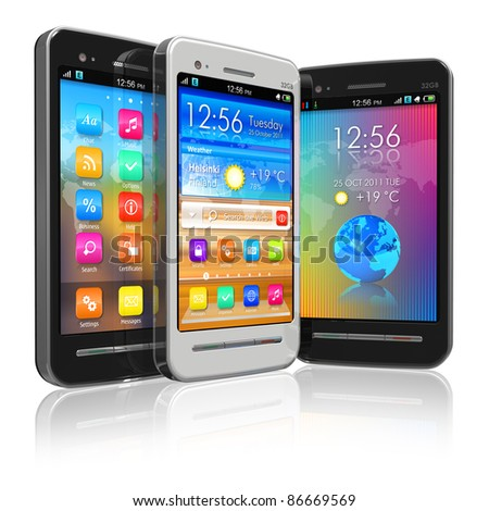 Set of black and white touchscreen smartphones isolated on white reflective background - stock photo