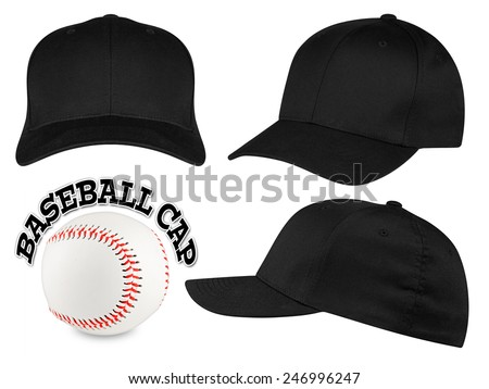 Set of black baseball caps with baseball