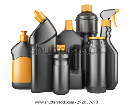 Set of black bottles with detergents. 3d image isolated on a white background. - stock photo