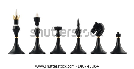 Set of black chess figures isolated over white background - stock photo