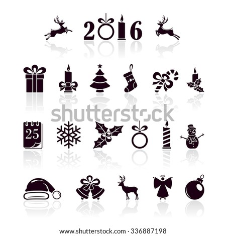 Set of black Christmas icons isolated on white background, illustration