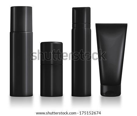 Set of Black Cosmetic Packaging
