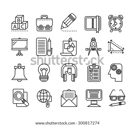 Set of black education thin, lines, outline icons. Items for study alphabet, pencil, headphones, bag, computer, glasses on white background. For web and mobile applications. Raster version  - stock photo