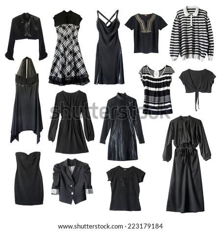 Set of black female clothes on white background - stock photo