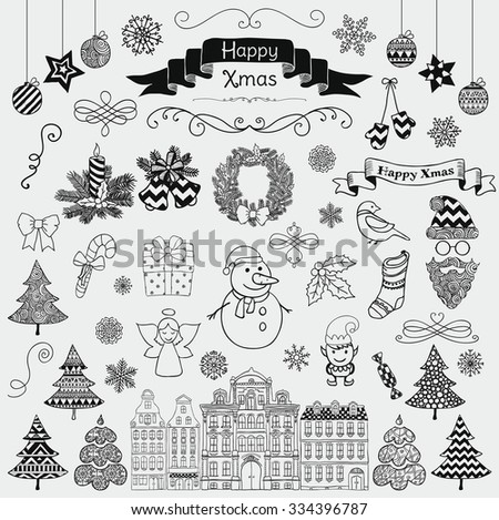 Set of Black Hand Drawn Artistic Christmas Doodle Icons. Xmas Illustration. Sketched Decorative Design Elements, Cartoons. New Year
