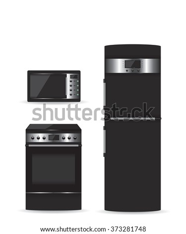 Set of black household appliances Microwave refrigerator and stove - stock photo