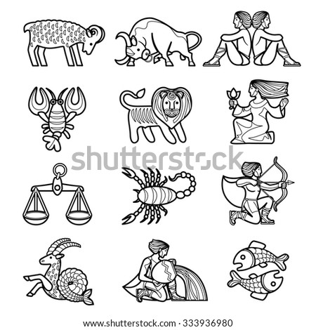 Set of black linear zodiacal signs with figures on white background - stock photo