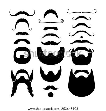 Set of black moustaches and beards silhouettes icons isolated on white