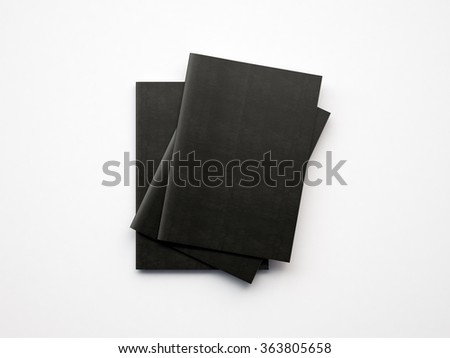 Set of black notebooks on the white background. 3d render - stock photo