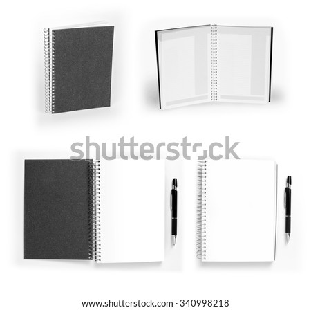 Set of black opened and closed notebooks with pen on white - stock photo