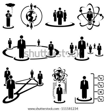 Set of black people icons on a white background, illustration - stock photo