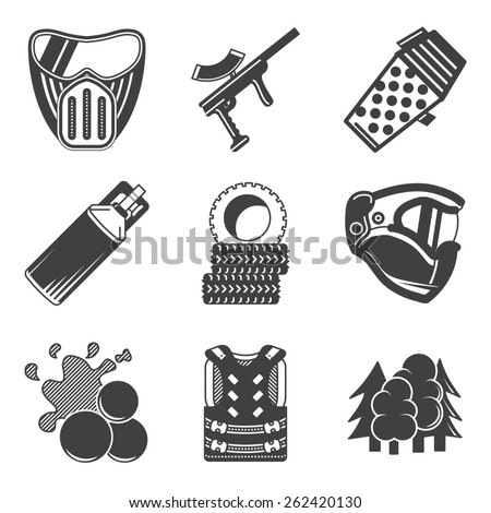 Set of black silhouette flat icons for paintball equipment and outfit on white background. - stock photo