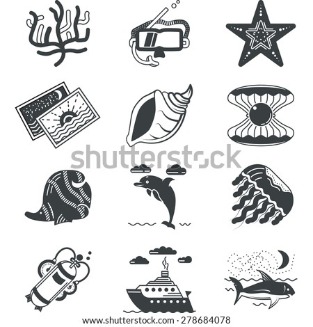 Set of black silhouette icons for underwater life and diving research on white background. - stock photo