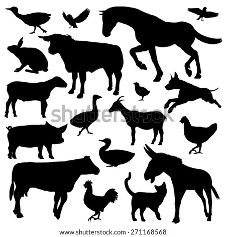 Set of black silhouette of farm animals isolated in white background - stock photo
