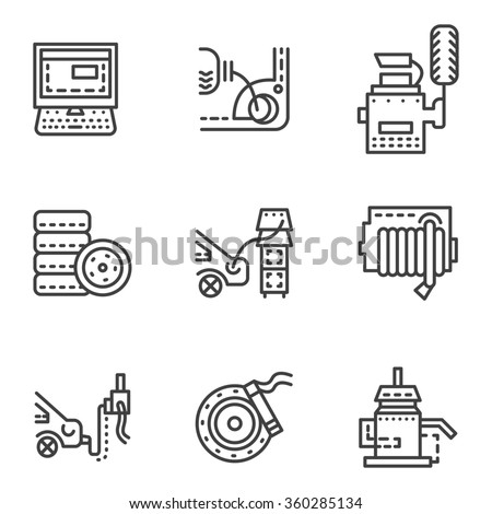 Set of black simple line icons for car service maintenance. Tires, parts lubrication, computer diagnostic. Design elements for business and website - stock photo