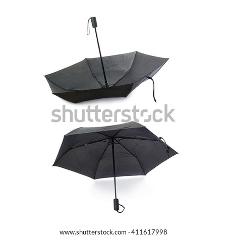 Set of Black unfolded umbrella isolated over the white background - stock photo