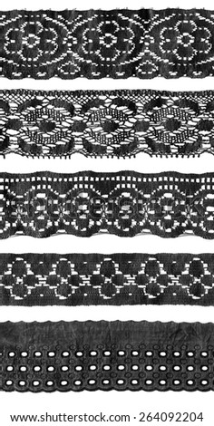 Set of black vintage lace isolated over white - stock photo