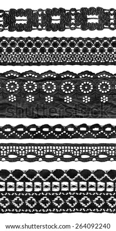 Set of black vintage lace isolated over white - stock photo