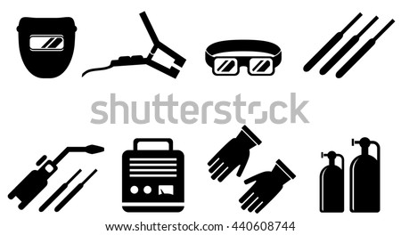 set of black welding equipment isolated icons - stock photo