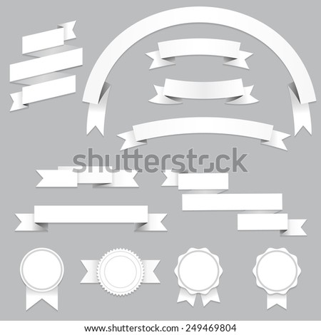 Set of blank banners and ribbons with shadows, isolated on gray background. Illustration for your design.  - stock photo