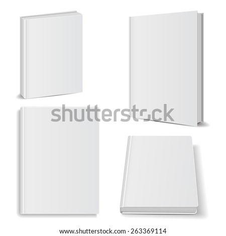 Set of blank books front view cover white - stock photo