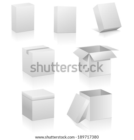 Set of blank boxes isolated on white background. Three kinds of boxes is represented: software box, traditional packing box and retail or present box. - stock photo