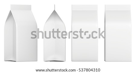 Set of blank boxes. Retail package mockup. Isolated on white. 3d rendering
