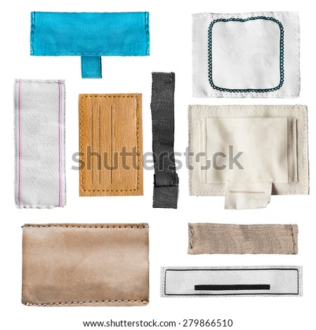 Set of blank clothes labels on white background - stock photo