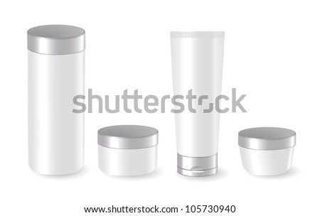 Set of blank cosmetic containers - stock photo