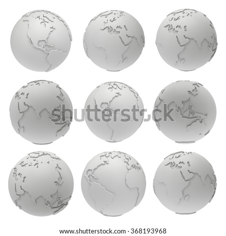 Set of blank earth planet globe icons. Mock up template for web or ad. 3D render isolated on white - stock photo