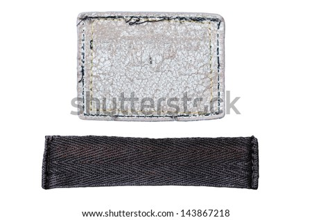 set of blank grungy leather jeans labels and jeans texture, isolated on white background