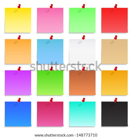Set of blank post-it notes with push pins - stock photo