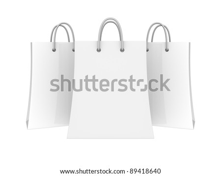Set of blank shopping bags - stock photo