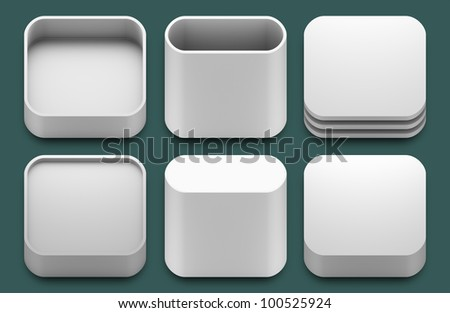 Set of blank template app icons for applications. - stock photo