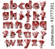 Set of bloody Fingerprint letters artwork isolated on a white background - stock vector
