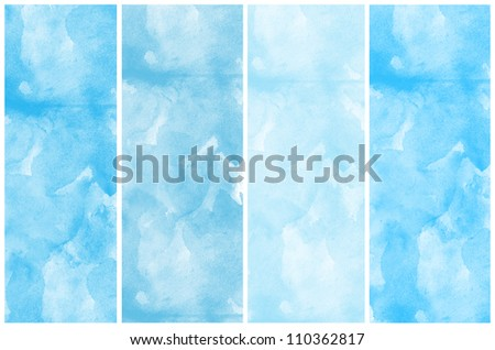 Set Of Blue Abstract watercolor background