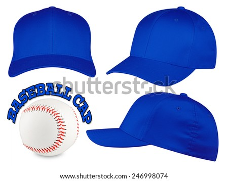 Set of blue baseball caps with baseball - stock photo