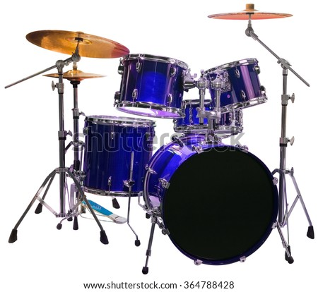 Set of Blue Battery Drumset Isolated with Clipping Path - stock photo