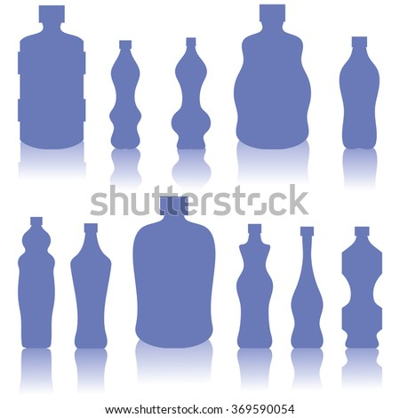 Set of Blue Bottles Silhouettes - stock photo