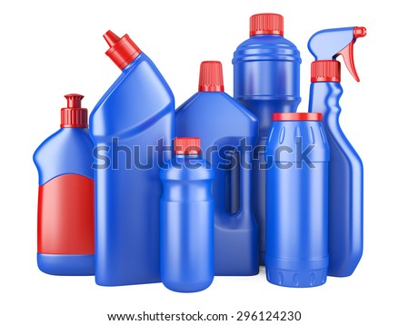 Set of blue bottles with detergents. 3d image isolated on a white background. - stock photo