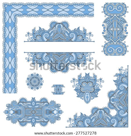 set of blue colour paisley floral design elements for page decoration, frame, corner, divider, circle snowflake, stripe pattern, raster version - stock photo