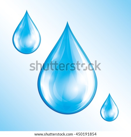 Set of blue glowing water drops isolated on white background. Nature objects, design elements for icons. Raster illustration - stock photo