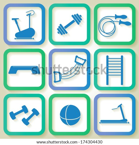 Set of 9 blue icons of the fitness club equipment. Raster version - stock photo