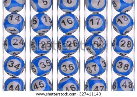 Set of blue lottery balls, lotto concept - stock photo
