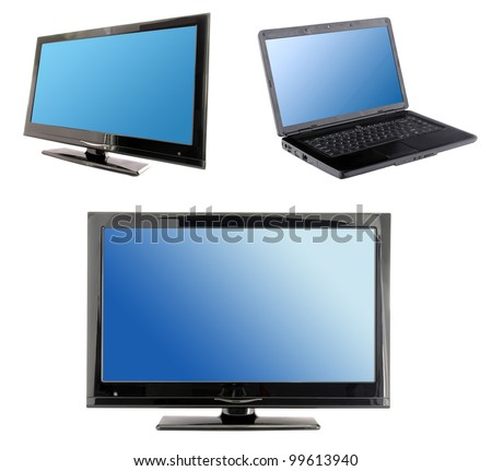 set of blue screens: lcd tv monitor and laptop