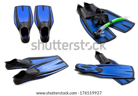 Set of blue swim fins, mask, snorkel for diving with water drops. Isolated on white background.