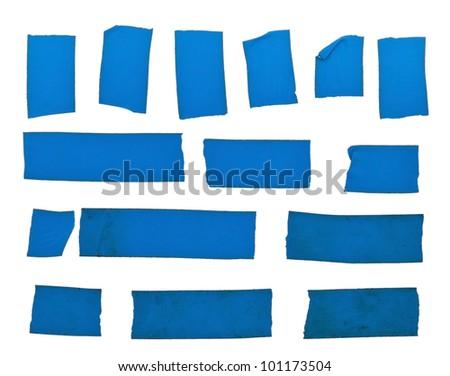 Set of blue tape slices isolated on white background - stock photo