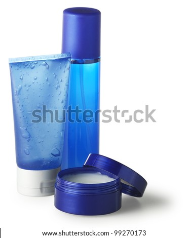 set of blue toiletries
