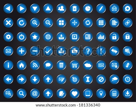 Set of blue universal web icons isolated on black background (Vector version is also available in my portfolio, ID 123730255) - stock photo