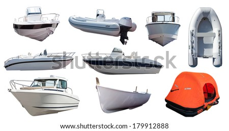 Set of  boats. Isolated over white background - stock photo